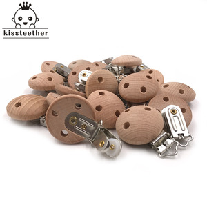 Image 5 - 20pcs Wooden Pacifier Clip Nursing Accessories Beech Pacifier Clips Chewable Teething Diy Dummy Clip Chains Baby Teether