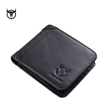 Vintage genuine leather Men's wallet Classic design short ca