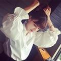 2016 новая весна корейский сладкая темперамент all-матч фонарь рукав белая рубашка женская мода показать тонкие студентам JN245
