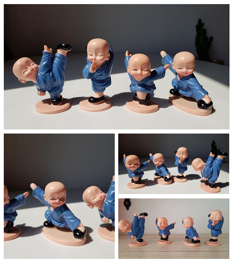 New four small monks Shaolin Kungfu kid Creative resin doll Home decoration gifts (3) -