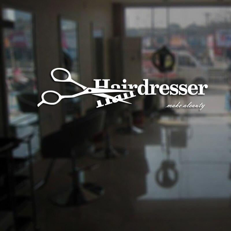 Hairdresser barber shop sticker name scissors hair salon - Barber vs hair salon ...