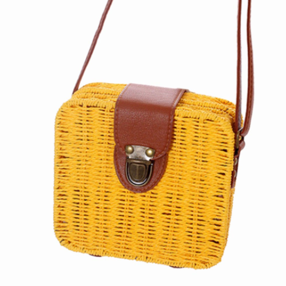 Women Travel Bags With Candy Color Square Straw Bag Small Female Travel Single-Shoulder  ...