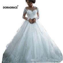 Doragrace Glamorous Vestido De Noiva Long Sleeves Wedding Dresses Lace Princess Bridal Gowns Plus Size
