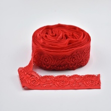 5yards/Lot red net lace Elastic ribbon 24mm African fabric white trim Embroidery DIY Sewing wedding decoration