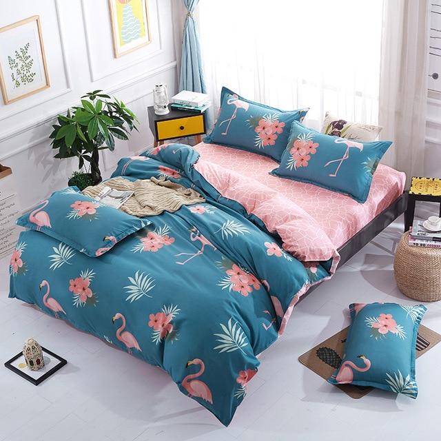 Hot Sale Cotton Flamingo Bedding Set Fashion Fruit Pattern Bed Linen  Bedspread 4pcs Include Duvet Cover