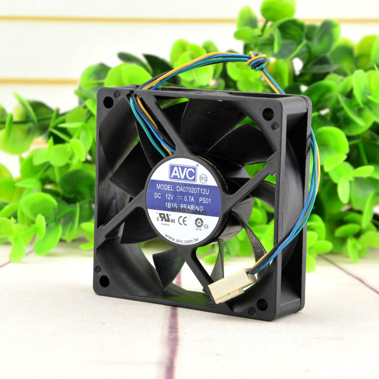 Free Shipping AVC DA07020T12U 7CM <font><b>70mm</b></font> cpu case cooling <font><b>fans</b></font> 7020 DC 12V <font><b>pwm</b></font> tempreture cooler image