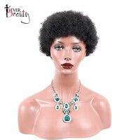 Sempre Beleza Perucas de Cabelo Humano Curtos Para As Mulheres #2 Cor Remy Brasileiro Do Cabelo Afro Kinky Curly Peruca Máquina Feita