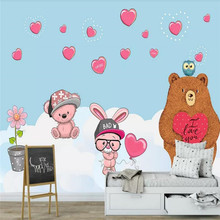 Custom wallpaper fashion love big bear rabbit children bedroom wall - decorative waterproof material