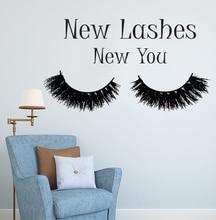 Eyelashes Makeup Wall Sticker Cosmetics Make Up Wall Art Wall Decals Beauty Salon Vinyl Wallpaper Long Lashes Wall Mural AY1086