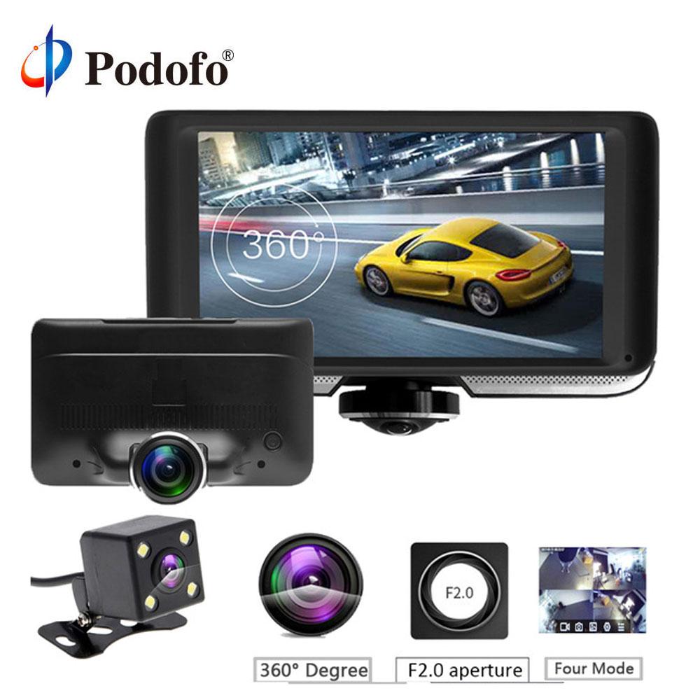 Podofo Car-Dvr-Camera Dvrs Dash-Cam Dual-Lens Rear-View 360-Degree Touch-Screen Registrar