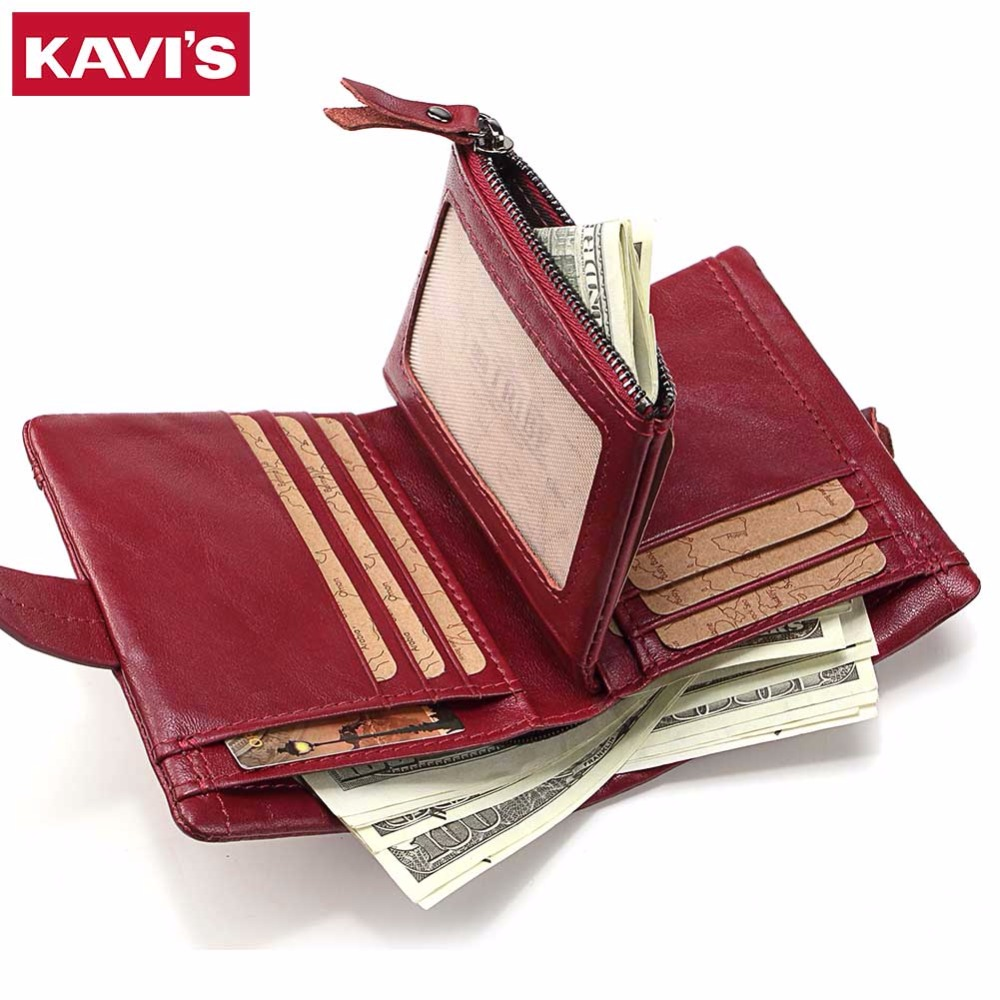 KAVIS Genuine Leather Womens Wallets and Purses Female Small Walet Clamp for Money Bag Portomonee Mini Lady Zipper Coin Pocket