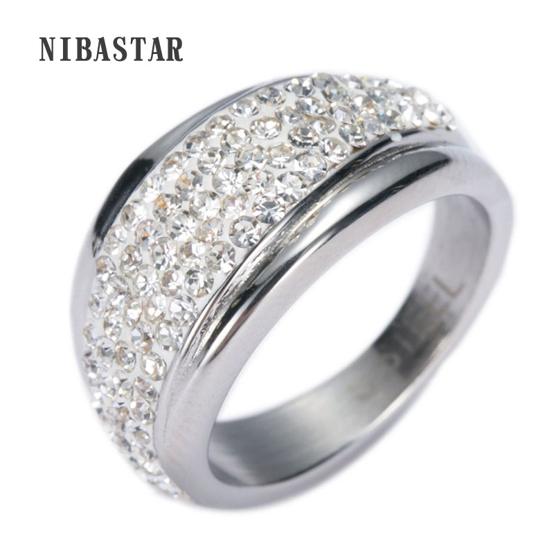 Cheap Price 316L Stainless Steel Ring For women With Austrian Crystal Stellux Top Quality