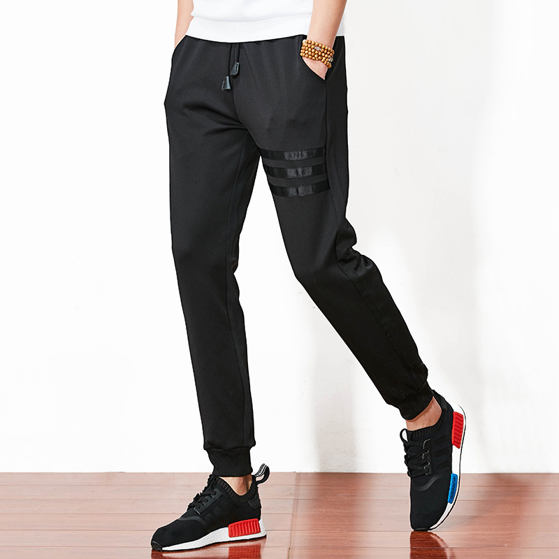 Men Joggers Sweatpants Casual Sweat Patches Pants Male Cotton Sportswear Menswear Warm Trousers Stripe Ribbons Straight Pants