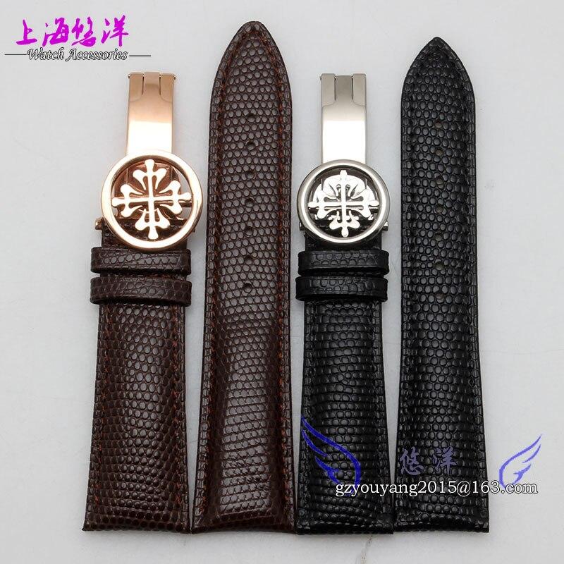20mm 22mm Nouvelle Montres Véritable montre-bracelet En Cuir de Courroie De Bande Femmes Hommes montre papillon Boucle