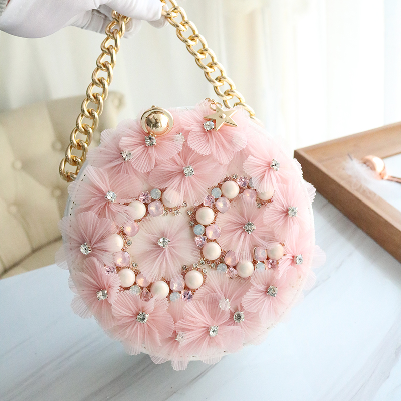 Spring and Summer 2019 New Fashion Girl Bag Fairy Flower Insert Drill Hand held Single Shoulder