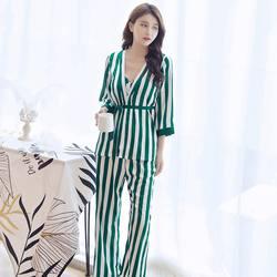 Женские пижамные комплекты женские полосатые брюки Condole халат с поясом высшего класса четыре предмета сна и Lounge Robe Gown Sets