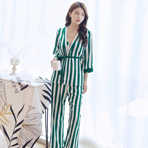 Women Pajama Sets Female Stripe Trousers of Condole Belt Sleepwear Top Grade Four-Piece Sleep & Lounge Robe Gown Sets Pakistan