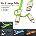 3 en 1 tipo c usb sync cable cargador para iphone 6 6 s plus 7 5 5S sí para xiaomi samsung htc teléfonos móviles de tipo c puerto dispositivos