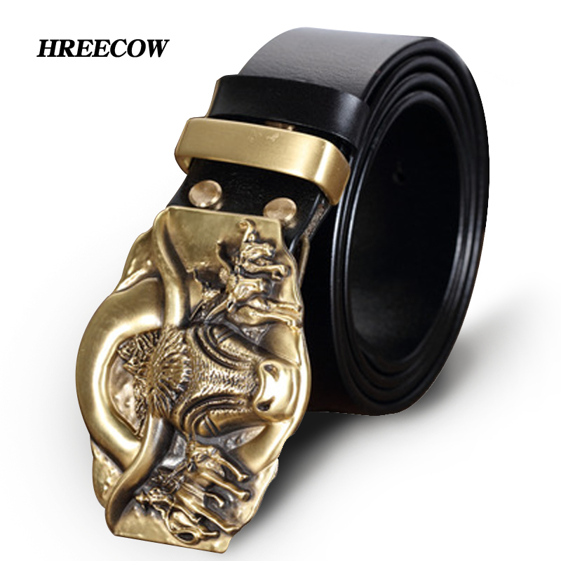 Top Cow genuine leather belts for men Male Copper buckle Oxen Brass Plate Buckle Homme Making