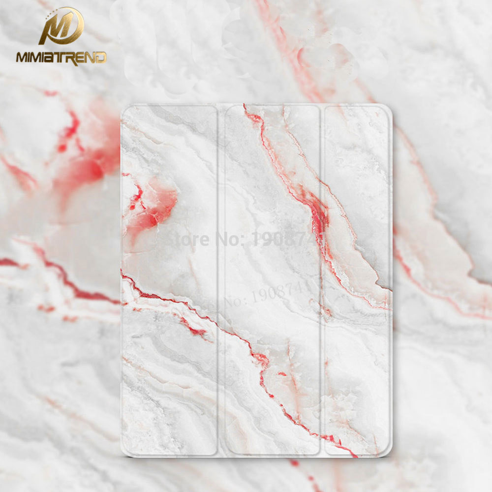 Mimiatrend Coral Marble Grain PU Leather Case for iPad 3 4 2 Smart Cover Smartcover for iPad4 iPad3 iPad2 With Protective film mimiatrend pink flowers stand design pu leather case for ipad mini 2 3 4 smart cover smartcover for ipad 2 4 5 protective film