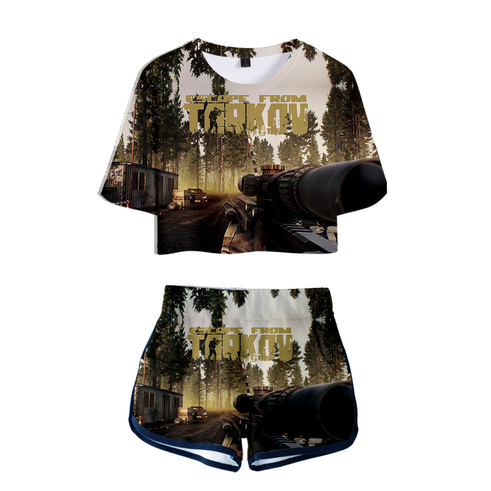 Escape From Tarkov Women Two Piece Set Fashion Summer Short Sleeve Crop Top+Shorts 2019 Hot Sale Streetwear Clothes 3d Printing 1