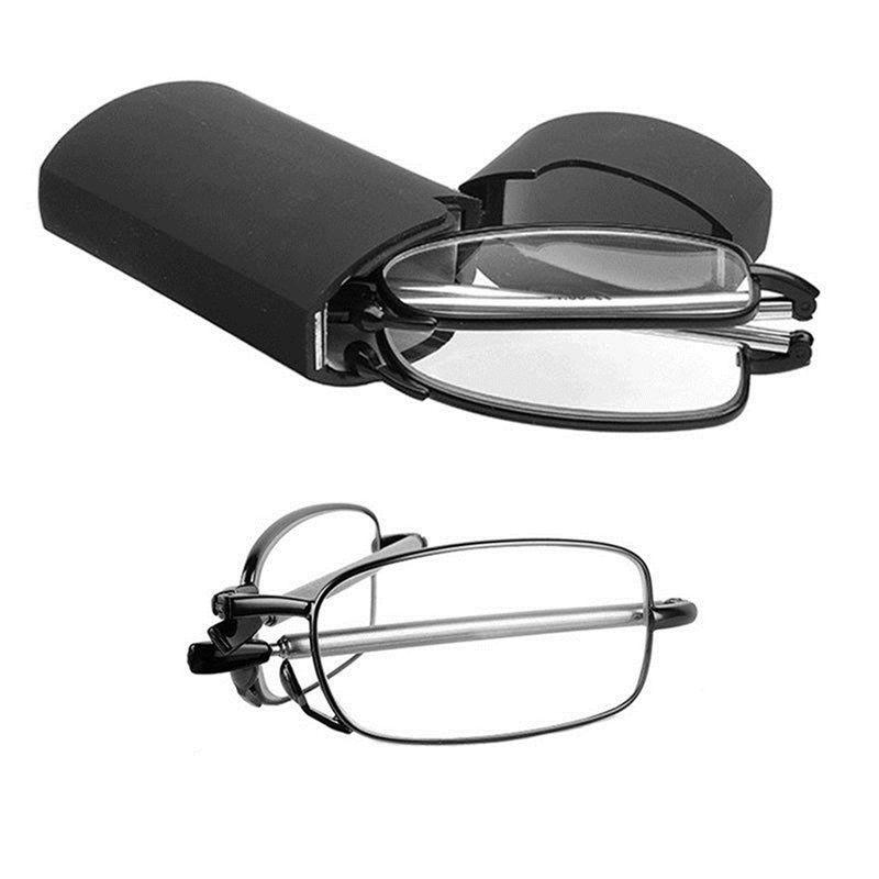 Folding Small Glasses MINI Design Reading Glasses FrameMassage health Black Metal Glasses Braces Supports For Men Women