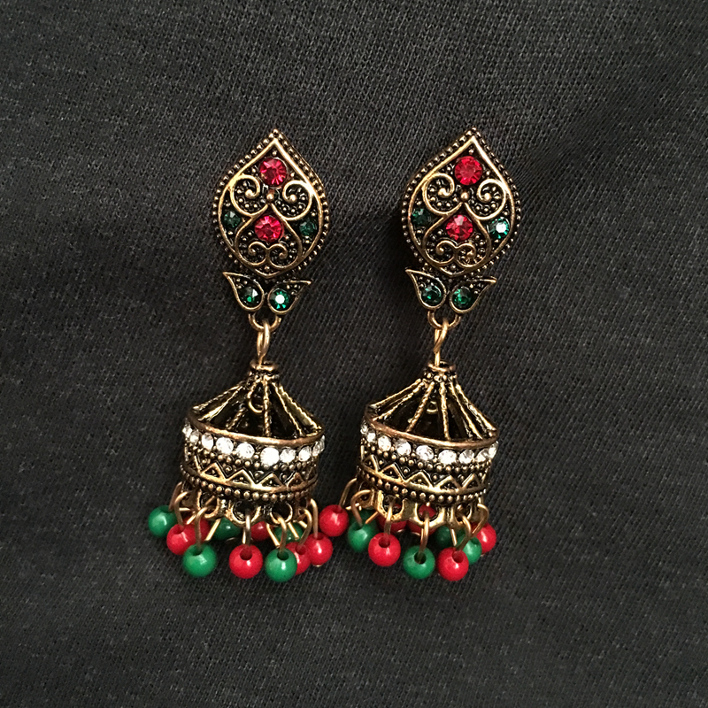 ce133b7f7205a US $3.34 33% OFF|India Bollywood Black Golden Jewellery Jhumka Earrings,  Zinc Alloy Coloured Beads Zircon Ear Studs India Bride Jewellery-in Stud ...