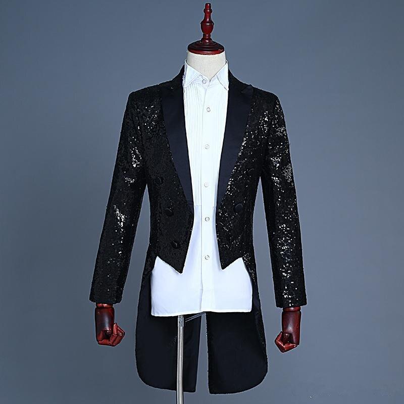 Новый Дизайн черный с блестками свадебные смокинги фраки Slim Fit жениха одежда индивидуальный заказ Мужские Пром вечерние производительност...