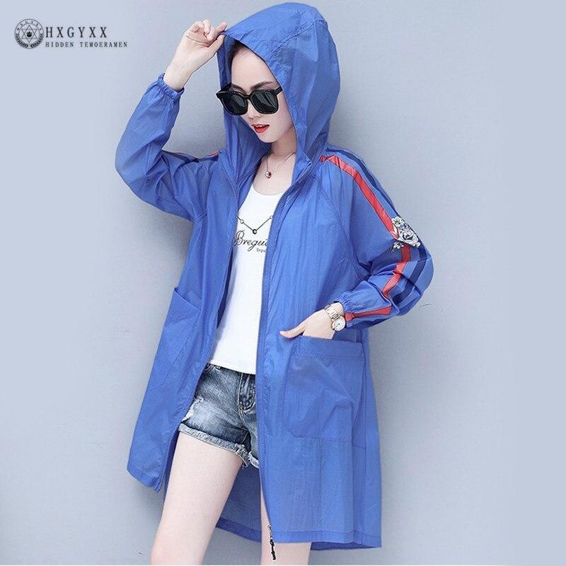 2019 Summer Sunscreen Women   Trench   Coat Plus Size Casual Outwear Loose Hooded Thin Windbreaker Anti-UV Streetwear Overcoat B015