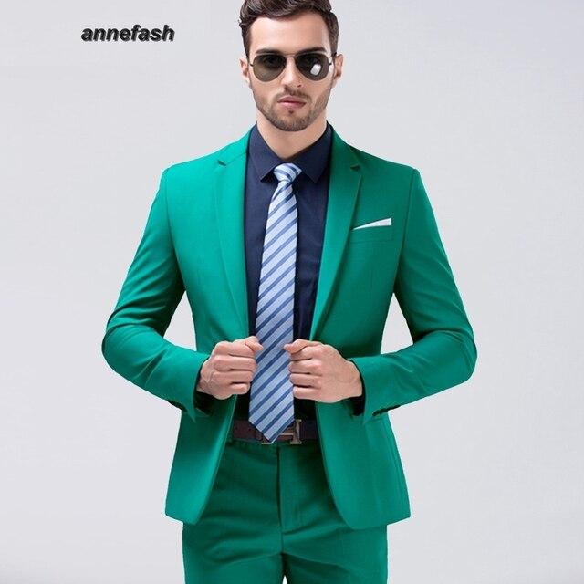 Mens Eruopean style haute qualité Hommes Parti Vert Costume Slim Fit  nouvelle Mode 10 couleur puls