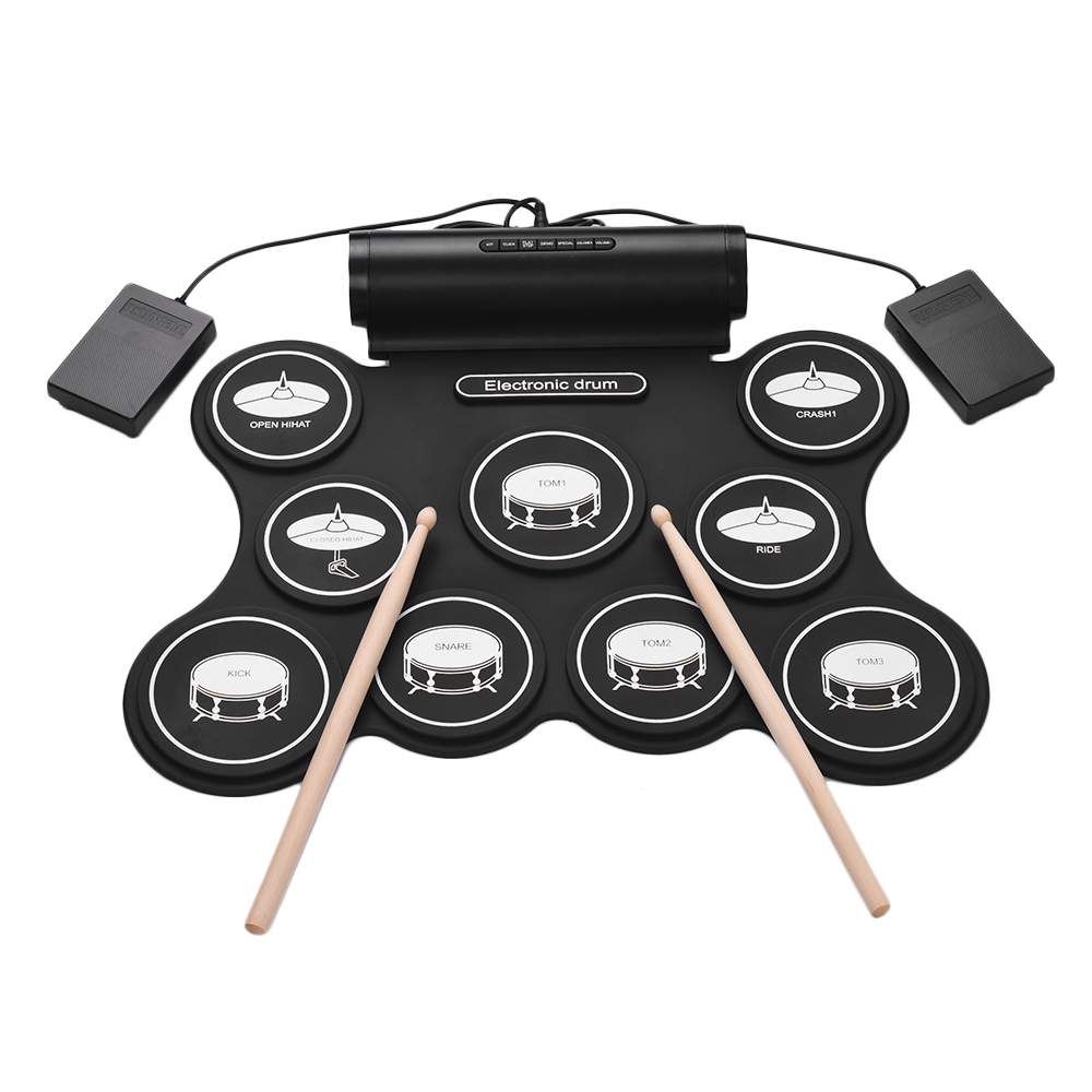 buy stereo digital roll up drum kit electronic drum 9 silicon drum pads support. Black Bedroom Furniture Sets. Home Design Ideas