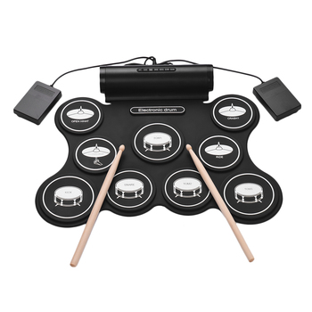 Stereo Digital Roll Up Drum Kit Electronic Drum 9 Silicon Drum Pads Support MIDI Function Built-in Speakers USB Powered