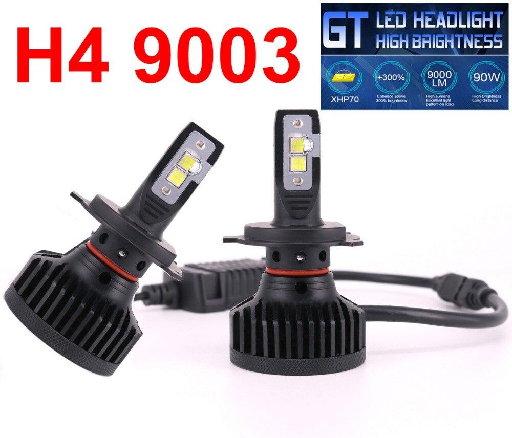 1 комплект H4 9003 XHP50 объектив чипы GT автомобиля светодиодный фар 90 W 9000LM высокое Яркость EMC Turbo Вентилятор Hi/ближнего света спереди лампы 6000 K
