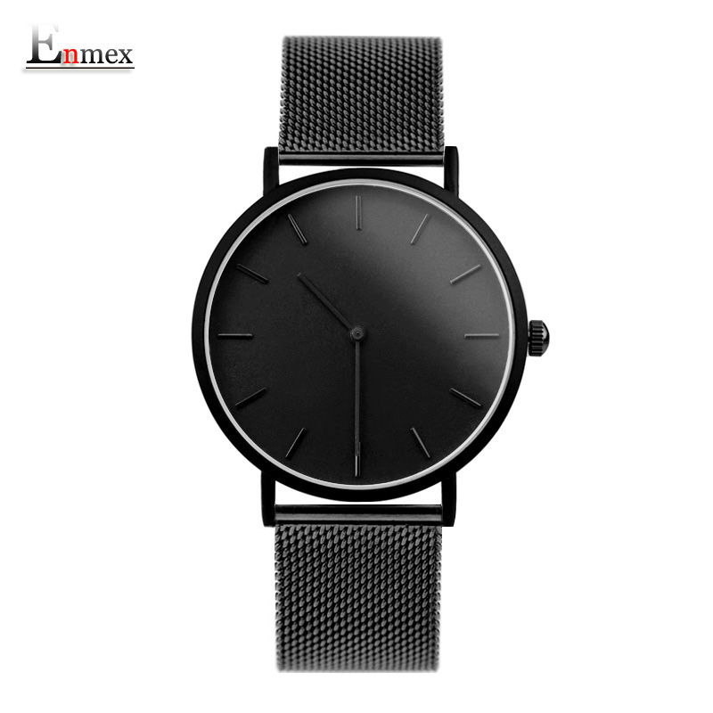 Enmex cool design men wristwatch stainless steel simple stylish Mystiqu two hands simple brief face quartz clock fashion watch ladies gift new style watch enmex creative design good night starry sky simple brief face steel band quartz fashion wristwatch