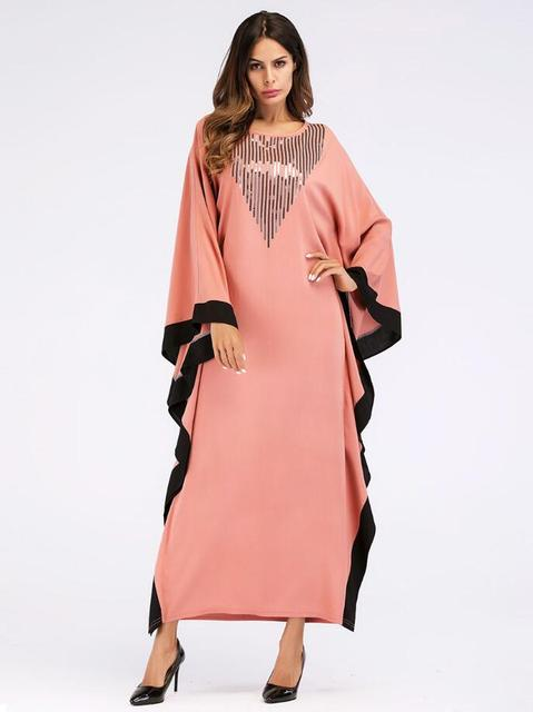 Arab elegant loose abaya kaftan islamic fashion muslim dress clothing design women bat sleeve dubai abaya Robe 5