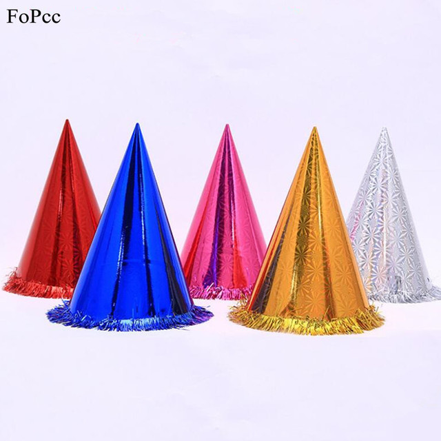 Birthday Hat Glister Laser Caps DIY Lace Pointed Children Adults Happy Shower Baby Dress Up Props Party Supplies