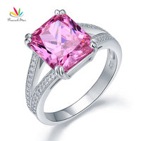 Peacock Star Solid 925 Sterling Silver Luxury Ring Anniversary 6 Carat Fancy Pink Created Diamante CFR8153