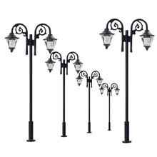 Luces de calle miniatura de 65mm, luces LED de poste de lámpara, miniatura, doble cabezal, blanco cálido, LYM61, 5 uds.