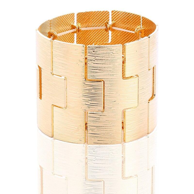 New Gorgeous Vintage Gold Color Crystal Charm Bracelets for Women Elastic Wide Boho Alloy Wide FeMale Bracelets & Bangles