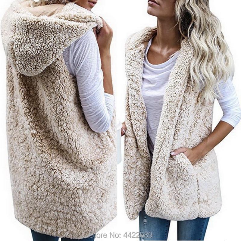 Women's Sleeveless Faux Fur Vest Top Fleece Cardigan Coat ...