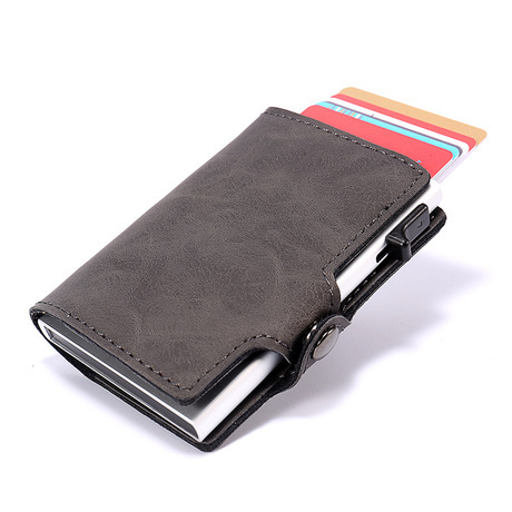 cheap for discount 2df74 79915 Casekey Vintage Leather Slim Wallet Smart Mini Rfid Wallet with Pop Up  Metal Credit Card Holder Porte Carte-in Wallets from Luggage & Bags on ...
