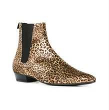 Мужские ботильоны из натуральной кожи леопардовые ботинки 2017