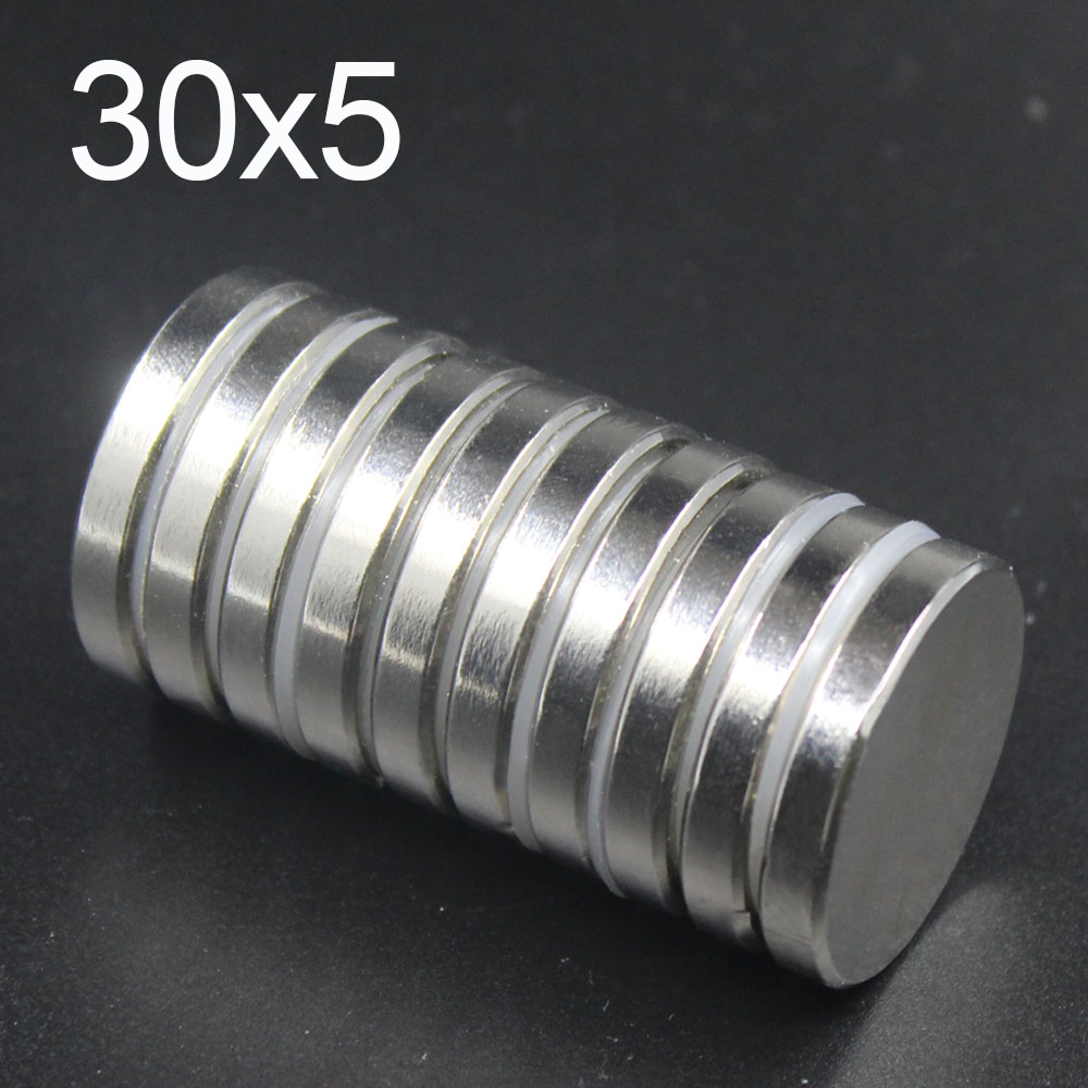 1 2 5 10 Pcs 30x5 Neodymium Magnet 30mm x 5mm N35 NdFeB Round Super Powerful Strong Permanent Magnetic imanes Disc 30x5 in Magnetic Materials from Home Improvement