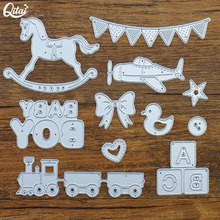 Original QITAI 11pcs/Pack happy birthday Cutting Dies Horse DIY scrapbooking for Children home Creative Decoration D134