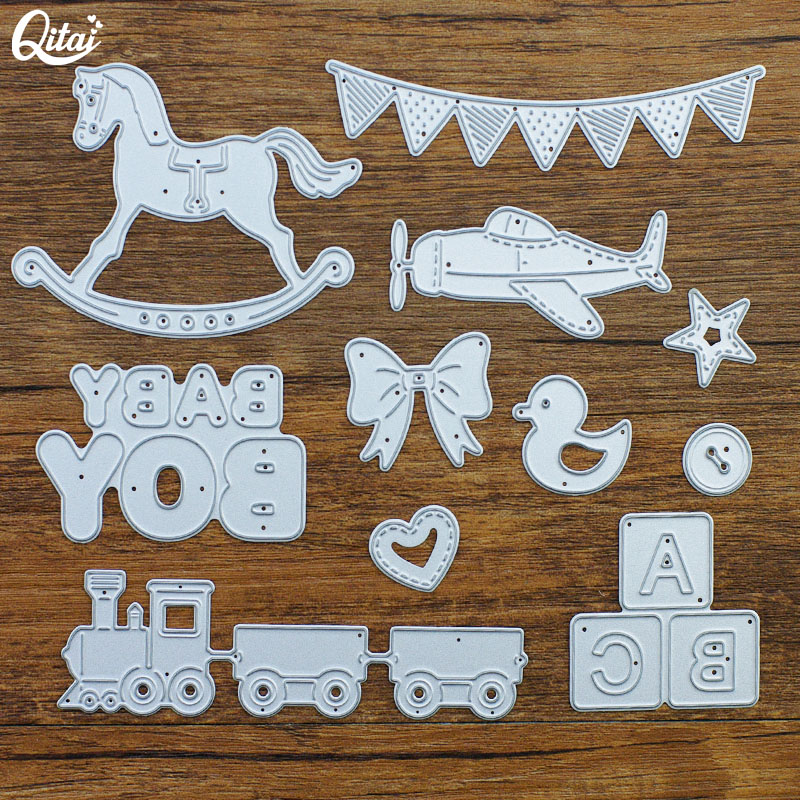 QITAI 11pcs/Pack BOY BABY Metal Cutting Dies Horse DIY Scrapbooking For Children Home Creative Decoration Craft Handmade MD346