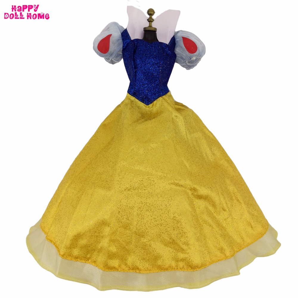 Fairy Tale Princess Dress Copy Snow White Cartoon Costume Wedding Party Gown Clothes For 17 Doll Pretend Play Accessories Gift disney princess brass key 2003 holiday collection porcelain doll snow white