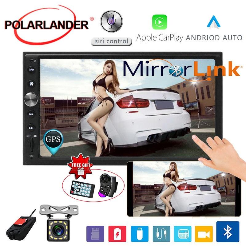 Autoradio 7 ''2 DIN pour Apple Carplay & Android multimédia miroir link voiture stéréo écran tactile Bluetooth FM GPS Navi Autoradio