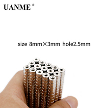 UANME 10 20 30 Pieces/Pack D8 x 3mm Magnetic Materials Neodymium Magnet Mini Small Round Disc Hole 2.5mm 20pcs pack d18 3mm magnetic materials neodymium magnet mini small round disc for 2018