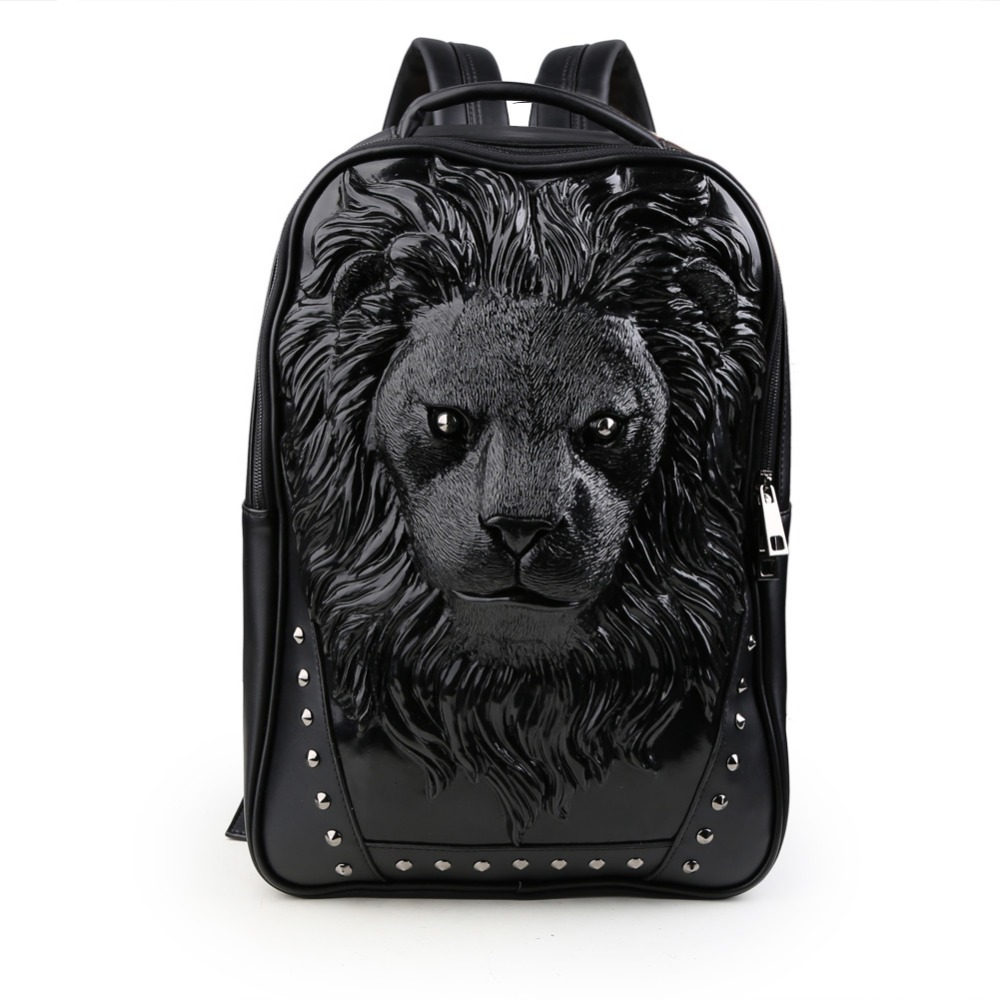 ФОТО 3D Lion Studded College Backpack PU Leather Rucksack Shoulder Bag Unisex Vivid Animal Print Backpacks for Laptops Up To 17-Inch