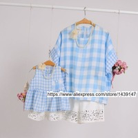 Brand New Summer Child Clothing Family Fitted Large Size Classic Plaid Suit Tops Shorts For Mother